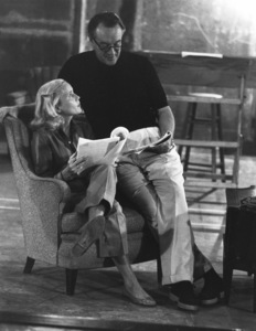"""Eva Marie Saint with George Sanders during the filming of """"That Certain Feeling""""1956 © 1978 Bill Avery - Image 2905_0017"""