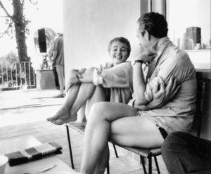 "Jean Seberg , David NivenOn location for the filming of ""BonjourTristesse"" 1957 © 1978 Bob Willoughby - Image 2927_0081"