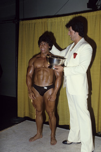 Sylvester Stallone at a bodybuilding competition1978© 1978 Gunther - Image 2976_0110