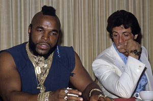 """Sylvester Stallone and Mr. T at a press conference for """"Rocky III""""1982© 1982 Jean Cummings - Image 2976_0200"""
