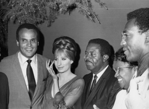Harry Belafonte, Barbra Streisand, The Reverend Ralph Abernathy and his wife, Juanita Jones Abernathy and Bill Cosby backstage at the Hollywood Bowl for a benefit concert for the Southern Christian Leadership ConferenceJuly 17, 1968** B.D.M. - Image 2995_0432