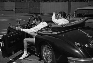 Robert Wagner in his Jaguar XK150 with Robert Conrad 1959 © 1978 David Sutton - Image 3064_0025