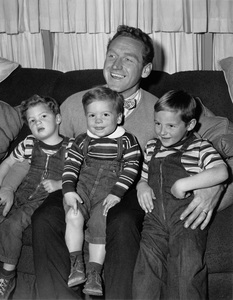 James Whitmore and his three sons Stephen, Danny and James Allan III (right)circa 1954 - Image 3096_0003
