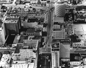 Hollywood and Los Angeles LandmarksAerial view of Hollywood and Vine,c. 1950