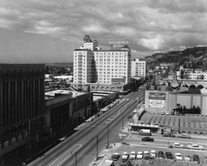 Hollywood and Los Angeles LandmarksHollywood Blvd. looking west toward the Roosevelt HotelC. 1956 © 1978 David Sutton - Image 3250_0055