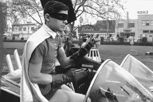 """Batman"" Burt Ward as Robin in the batmobile1966 ABC © 1978 Chester Maydole - Image 3285_0114"