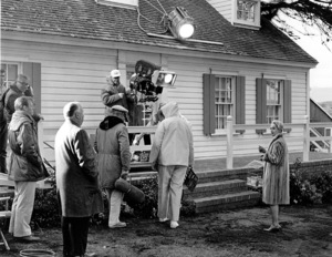 """""""The Birds""""Alfred Hitchcock and Tippi Hedrenon the set.  1963 Universal**I.V. - Image 3302_0029"""