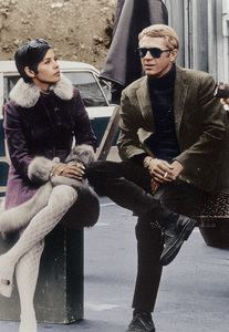 """""""Bullitt""""Steve McQueen and wife Neile Adams behind the scenes 1968 Warner BrothersPhoto by Mel Traxel - Image 3321_0118a"""