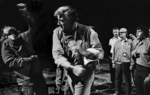 """The Cowboys""Bruce Dern, John Wayne, cinematographer Robert Surtees, director Mark Rydell1971 Warner Brothers © 1978 Bob Willoughby - Image 3370_0156"