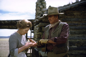 """The Cowboys,"" Warner Bros. 1971.Sarah Cunningham and John Wayne. © 1978 David Sutton - Image 3370_0177"