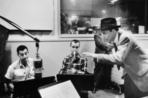 """Frank Sinatra at """"The Man with the Golden Arm"""" recording session, Hollywood, CA, 1955.(Otto Preminger and Kim Novak in control room) © 1978 Bob Willoughby / MPTV - Image 337_1687"""