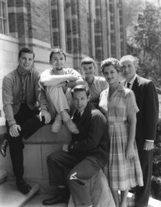 """""""The Many Loves of Dobie Gillis""""Dwayne Hickman, Bob Denver, Steve Franken, Sheila James Kuehl, Florida Friebus, Frank Faylen1961Photo by Gabi Rona - Image 3397_0021"""
