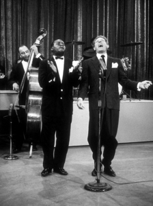 """U.S.O. Tour""Louis Armstrong and Danny Kaye, October 1958. © 1978 Gerald SmithMPTV  - Image 3454_0003"