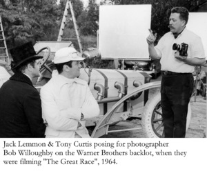 """""""Great Race, The""""Jack Lemmon, Tony Curtis, Bob WilloughbyPhoto taken in 1964 / Warner © 1978 Bob Willoughby - Image 3467_0335"""