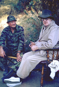 """The Green Berets,"" Warner Bros. 1967.Director, John Ford, visiting John Wayne on location. © 1978 David Sutton - Image 3469_0223"