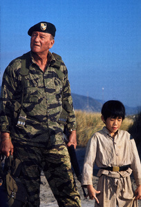 """The Green Berets,"" Warner Bros. 1967.John Wayne and Craig Jue. © 1978 David Sutton - Image 3469_0251"