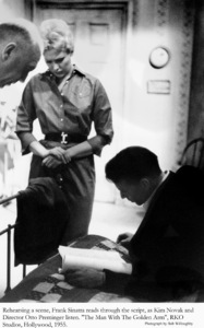 """""""The Man with the Golden Arm""""Rehearsing a scene, Frank Sinatra reads through the script, as Kim Novak and Director Otto Preminger listen1955 © 1978 Bob Willoughby - Image 3575_0063_"""