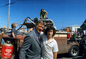 """""""McQ,"""" Warner Bros. 1973.John Wayne and his son, Ethan, during a break from filming. © 1978 David Sutton - Image 3587_0074"""