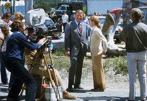 """""""McQ,"""" Warner Bros. 1973.John Wayne and Diana Muldaur during filming. © 1978 David Sutton - Image 3587_0088"""