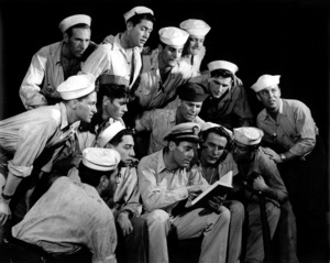 """Henry Fonda surrounded by on lookers""""Mister Roberts"""" 1948Copyright John Swope Trust / MPTV - Image 3595_0114"""