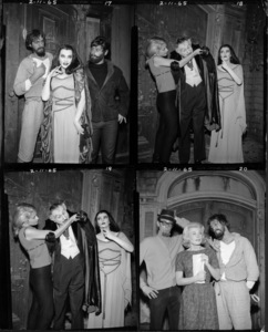 """""""The Munsters""""(starting from top left going clockwise) Scene 1: Yvonne De Carlo / Scene 2: Al Lewis, Yvonne De Carlo / Scene 3: Al Lewis, Yvonne De Carlo / Scene 4: Pat Priestcirca 1965** Part of the Kevin Burns Collection - Image 3600_0252"""