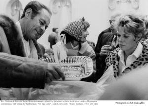 """My Fair Lady""Rex Harrison with wife Rachel Roberts, Audrey Hepburn talking with Art Seidenbaum. 1963 / Warner Brothers. © 1978 Bob Willoughby - Image 3604_0862"