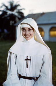 "Audrey Hepburn on location for ""The Nun"