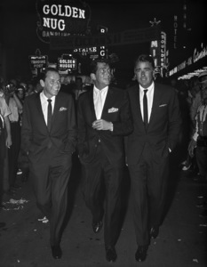 """Frank Sinatra, Dean Martin and Peter Lawford at the premiere of """"Ocean"""