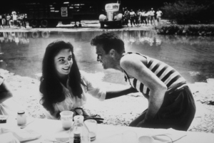 """""""Raintree County""""Elizabeth Taylor and Montgomery Clift during lunch1956 © 1978 Bob WilloughbyMPTV - Image 3678_0014"""