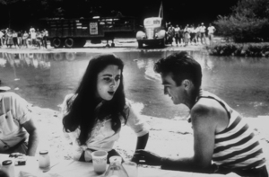 """""""Raintree County""""Elizabeth Taylor and Montgomery Clift during lunch1956 © 1978 Bob WilloughbyMPTV - Image 3678_0015"""