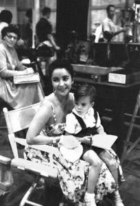"""""""Raintree County""""Elizabeth Taylor with son ChristopherWilding behind the scenes1957 © 1978 Bob Willoughby - Image 3678_0036"""