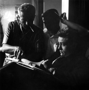 """""""Rebel Without a Cause""""James Dean, Dennis Stock and director Nicholas Ray1955 Warner Brothers © 1978 Bob Willoughby - Image 3684_0001"""