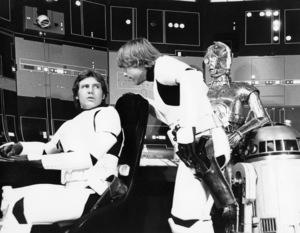 """Star Wars"" Harrison Ford, Mark Hamill, C3PO (Anthony Daniels), R2-D21977 Lucasfilm© 1978 John Jay - Image 3748_0159"