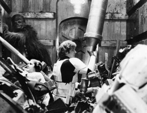 """""""Star Wars"""" Harrison Ford, Peter Mayhew, and Carrie Fisher1977 Lucasfilm© 1978 John Jay - Image 3748_0178"""