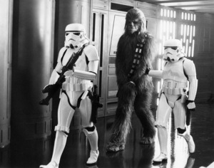 """""""Star Wars"""" Peter Mayhew and Storm Troopers1977 Lucasfilm© 1978 John Jay - Image 3748_0189"""