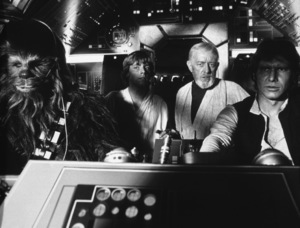 """Star Wars""Peter Mayhew, Mark Hamill, Alec Guinness, Harrison Ford1977 LucasfilmPhoto by John Jay - Image 3748_0208"