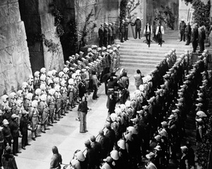 """Star Wars""Director George Lucas filming the final scene with Harrison Ford, Peter Mayhew and Mark Hamill1977 LucasfilmPhoto by John Jay - Image 3748_0220"