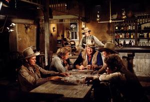 """The Train Robbers,"" Warner Bros. 1973.Rod Taylor, John Wayne, Bobby Vinton, and Ben Johnson. © 1978 David Sutton - Image 3785_0167"