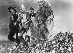 Ray Bolger, Jack Haley, Judy Garland, Bert LahrFilm SetWizard Of Oz, The (1939)0032138MGM - Image 3823_0001