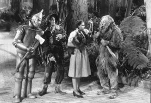 Jack Haley, Ray Bolger, Judy Garland, Bert LahrFilm SetWizard Of Oz, The (1939)0032138MGM - Image 3823_0004
