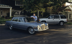 Cars Ernest Borgnine, his 1972 280 SEL Mercedes, and his 1992 Ford Explorer at home in Beverly Hills, CA © 1992 Ron Avery