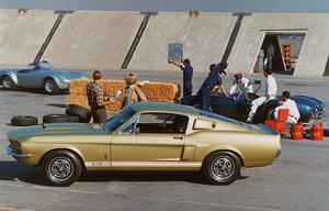 Car Category 1967 Shelby GT 350 & TWO 427 COBRAS At the Shelby Factory in Los Angeles California Sept. 1966 © 1978 Sid Avery - Image 3846_0344