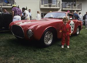 Toni Avery and a 1952 Ferrari 212 Inter BerlinettaPebble Beach Concourse / 08-25-92© 1992 Ron Avery - Image 3846_2152
