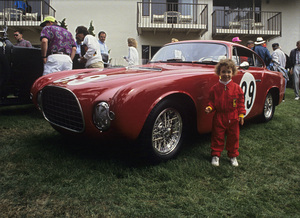 Toni Avery and a 1952 Ferrari 212 Inter BerlinettaPebble Beach Concourse / 08-25-92© 1992 Ron Avery - Image 3846_2152