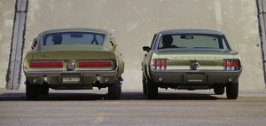 Cars1967 Shelby GT 350 and a 1967 Ford Mustang coupe at the Shelby factory in Los AngelesSeptember 1966© 1978 Sid Avery - Image 3846_2176