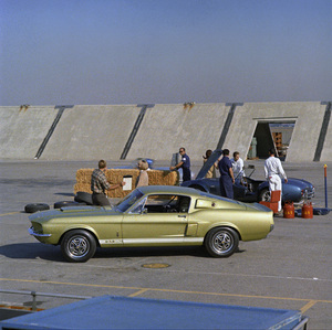 Cars1967 Shelby GT 350 and 427 Cobra at a mock Race Track set up at the Shelby factory in Los AngelesSeptember 1966© 1978 Sid Avery - Image 3846_2178