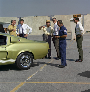 Cars1967 Shelby GT 350Shelby PR manager George Merwin, Carroll Shelby, and photographer Sid AveryAt the Shelby factory in Los AngelesSeptember 1966© 1978 Sid Avery - Image 3846_2182