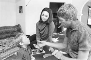 James Coburn and his wife Beverly Kelly at home with their son, James H. Coburn IV1966© 1978 David Sutton - Image 3893_0142
