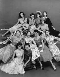 """Fashion"" Eileen Ford and models (Front row, left to right: Jean Patchett, Patsy Shally, Lillian Marcuson, Nan Rees, Leonie Vernet. Second row: Suzy Parker, Dorian Leigh, Georgia Hamilton, Dolores Hawkins, Kathy Dennis, Mary Jane Russell) 1955 © 2000 Mark Shaw - Image 3956_0880"