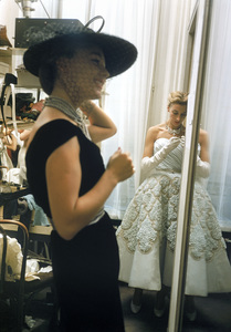 Models backstage at the Pierre Balmain Couture show in Paris, France 1954 © 2005 Mark Shaw  - Image 3956_0929